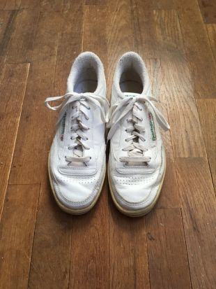 vintage 80s reebok club c chaussures de tennis lace up baskets blanches made in Korea size mens US 7 / UK 6.5 / EUR 40