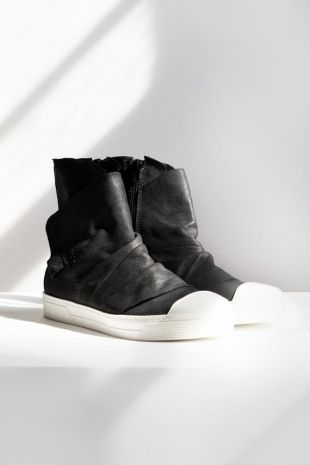 NEW Leather Sneaker Boots, Stylish Sneakers, Black Shoes, Genuine Leather Shoes, Margot Sneaker Boots, Marcellamoda - MS0983