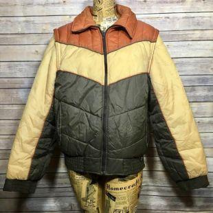 vintage 70s Sears Colorblock Bomber Puff Ski Jacket (Boys XXL)