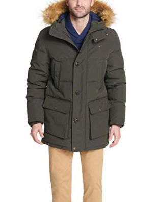 Tommy Hilfiger Men's Arctic Cloth Full Length Quilted Snorkel Jacket (Regular and Big and Tall Sizes), Dark Forest, S