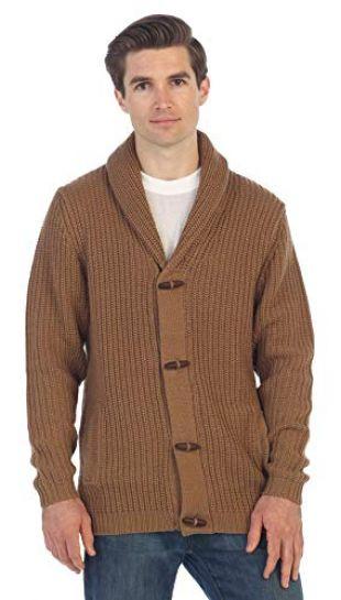 Gioberti Men's Toggle Button Cardigan Knitted Regular Fit Sweater, Khaki, Small