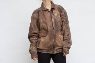 Vintage Brown Jacket, Short Leather Jacket, Distressed Soft Leather Jacket, Large Size Jacket, 70s Leather Coat, Crop Belted Jacket