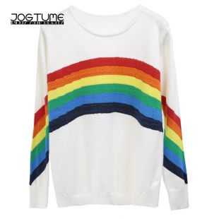 US $21.75 32% OFF|2019 New Arrived Womens Rainbow Sweaters Black White Ladies Autumn Winter Casual Pullover Long Sleeve Female Knitted Shirt Tops-in Pullovers from Women's Clothing on AliExpress
