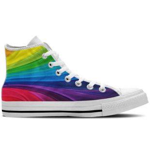 Arc en ciel chaussures - haut Top Sneaker femmes / toile sur mesure Chaussures Design coloré-blanc