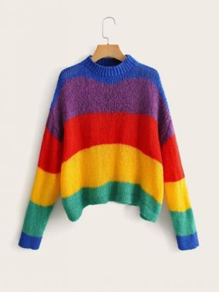 Drop Shoulder Rainbow Striped Knit Sweater
