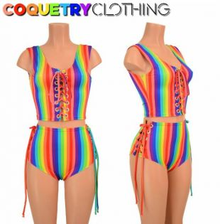 2PC arc en ciel Stripe Lace Up Tank style Crop Top et Lace Up sirène shorts Bright Gay Pride Parade-156050