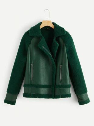 Zip Up Faux Shearling Jacket