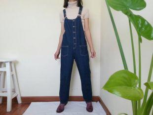 vintage Navy Blue Denim Overalls Femmes Jeans Combinaison s'alignez sur Denim Dungarees Womens Overalls Bib Overalls Pantalon salit M L