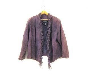 Purple Leather Coat vintage Fringe Jacket 90s Punk Revival Dress Coat Taille Femme 1X