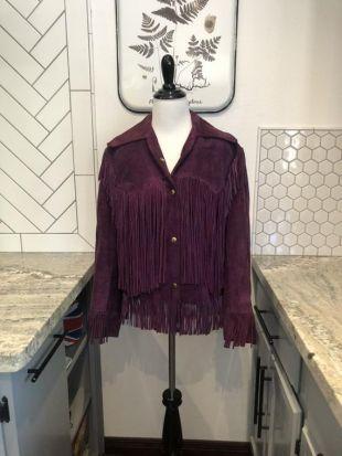 1970 's Buckboard daim violet frange veste