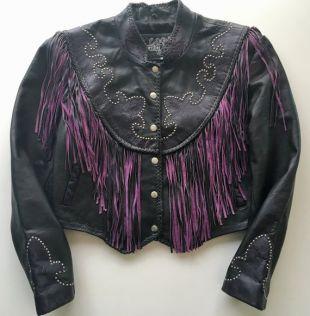 Noir en cuir et violet frange veste-Galerie de cuir, taille M