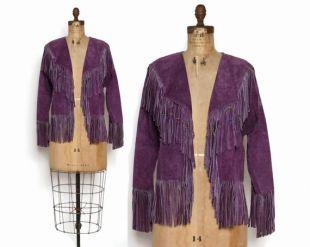 Vintage 80s FRINGE JACKET / 1980s Purple Suede Beaded LEATHER Western Jacket Xs - S