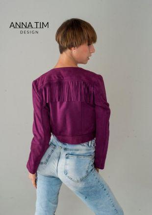 Veste en daim, frangée veste, veste, veste de Boho, veste femme, couleur fuchsia
