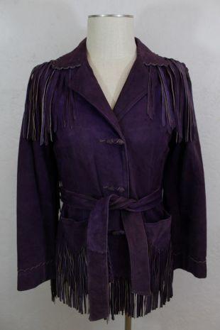 1950 's femmes daim violet cuir frange veste-taille: S