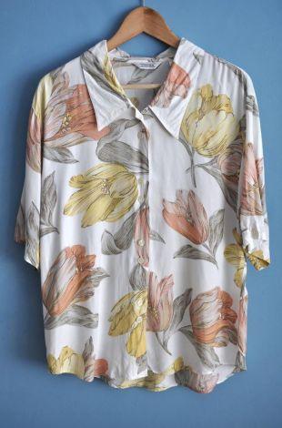 Chemisier fleuri blanc vintage des années 1990, hipster Womens fleur imprimé col chemise, chemise d'été imprimé, surdimensionné des années 90 haut, taille 44
