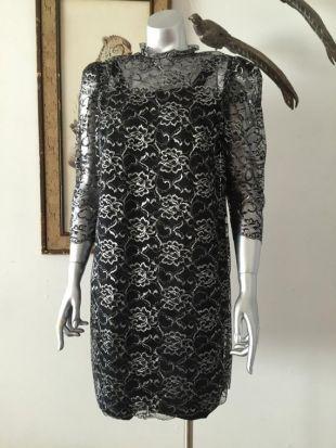 Années 1960 magnifique noir et argent métallisé Party Dress