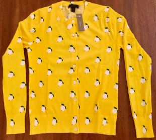 NWT J Crew S Cotton Jackie Cardigan Sweater Lemon Print #G3947 Small SOLD OUT   eBay