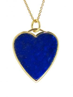 Jennifer Meyer Lapis Inlay Heart Pendant Necklace Yellow Gold