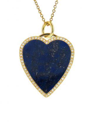 Diamond Lapis Inlay Heart Pendant Necklace Yellow Gold