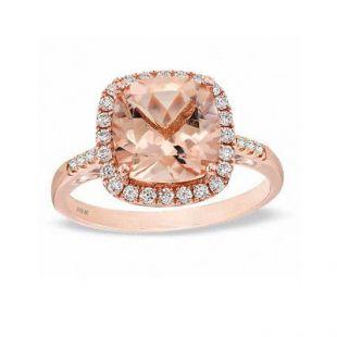 Natural Rose Morganite et Diamant 14K or Rose Cocktail Ring