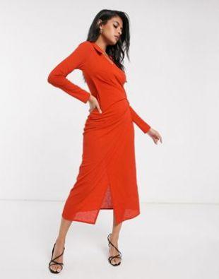 Robe portefeuille longue - Orange