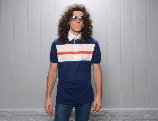 vintage 70s 80s Jantzen polo short sleeve red white blue stripe 1970 1980 menswear tennis mod British Soul Fred Perry MERC M/L