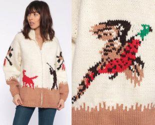 Cowichan Cardigan pull amérindien veste ethnique Boho chasse faisan oiseau Animal 70 s Vintage Hippie Boho Tan Beige moyen grand