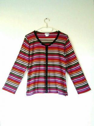 90s Sonia Rykiel Iconic Multicolor Rainbow Stripe Lightweight Cotton Button Front Cardigan Blouse Blouse Femme Plus Size Large Xlarge L XL