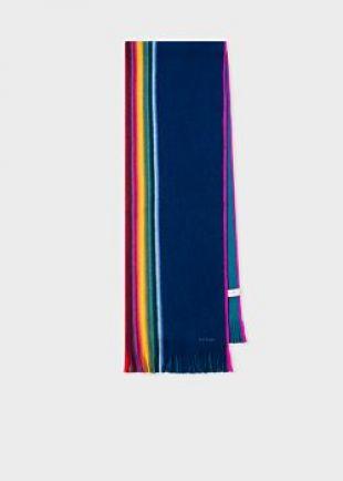 Blue Rainbow Stripe Merino-Wool Scarf