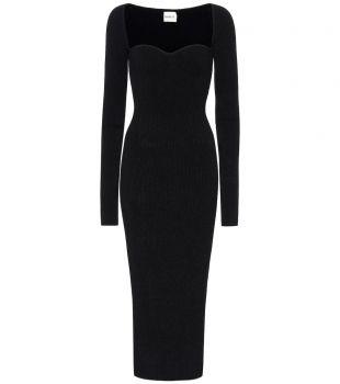 Ribbed-Knit Black Midi Dress