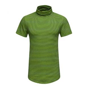 SANGQU Men's Fashion Striped Turtleneck Fitness Short Sleeve Sport T-Shirt Green