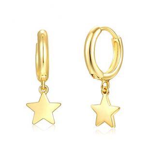 Fettero Cute Gold Tiny Star Dangle Huggie Hoop Earrings,Hinged Hoop Cuff Earrings Huggie Stud Earrings for Women