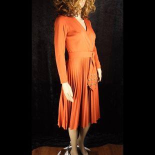 Fabuleux * Vintage 60 s 70 s * Orange une robe ceinturée * jupe plissée en accordéon * des Accents d'or * très bon état