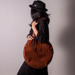 Sac rond brun, méga grand sac, sac de cercle extra grand, sac fourre-tout brun Faux sac de client en cuir Big sac brun Sacs d'ordinateur portable