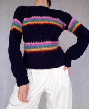 Pull bleu vintage, Pull tricoté, Pull en tricot des années 80, Jumper en laine, Rainbow Jumper, Petit Pull Chaud, Haut Unisex, Pull en laine tricot