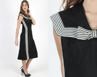 Vintage Black 50s Sailor Striped Dress Nautical Inspiré 1950S Robe Bow Wide Collar Wiggle LBD Rockabilly Striped Midi Mini Robe