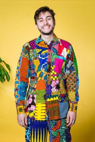Couleur me Crazy chemise à manches longues/recyclé patchwork/Festival chemise/chemise pour homme hippie/coloré chemise/chemise hawaïenne/éthique