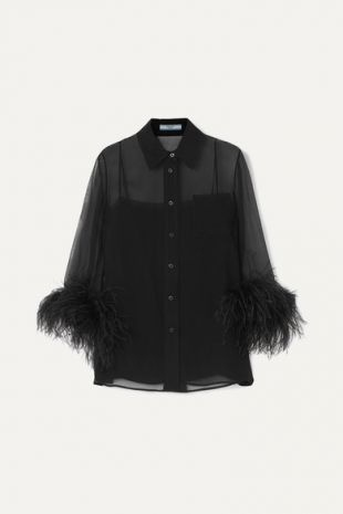 Feather Trimmed Silk Georgette Blouse