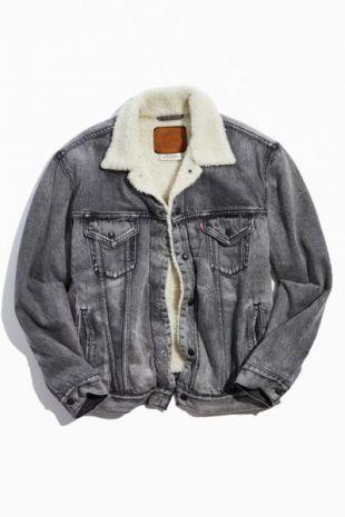Grey Vintage Fit Sherpa Trucker Jacket
