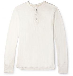 Off-white Cotton-Jersey Henley T-Shirt
