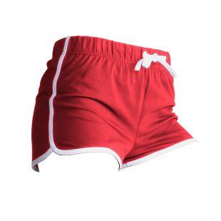 Skinni Fit - Short de sport rétro - Femme (XS - FR 36) (Rouge/Blanc)