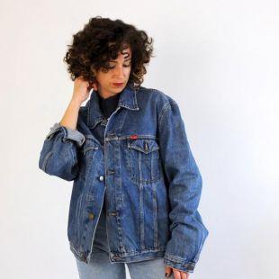 vintage Wrangler plus taille veste en denim unixes, vintage années 80 90 veste en denim surdimensionné, vintage camionneur jeans taille L