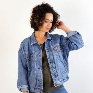 veste en denim surdimensionné vintage des années 90 en bleu, veste en denim camionneur, veste en denim crop - Vestes en jeans aviatic femme