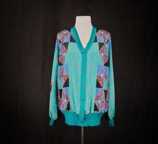 cardigan soyeux vintage avec des détails en tricot Capucci chaîne d'impression