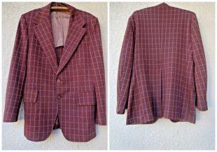 Manteau sport en laine à carreaux pour homme des années 1960 par McGregor en Bourgogne et rose. Taille 40R