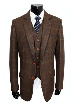 Men's Made to Order Country Brown Check Tweed Costume trois pièces