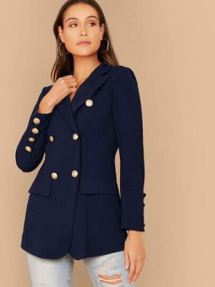 Gold Button Double Breasted Fitted Blazer
