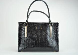 Cartable/sac à main en cuir en relief Gator noir fait à la main.