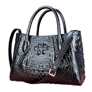 Crocodile Handbag Women's Genuine Leather Shoulder Bag Solid Color Cowhide Messenger Bag Woman (Black)