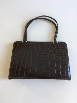 Sac à main en cuir brun vintage 1950S Faux Alligator Saks Fifth Ave